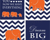 Orange and Navy Blue Nursery, Elephant Nursery Decor, Jungle Nursery Prints - Four 8x10s