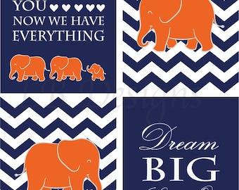 Elephant Nursery Decor, Jungle Nursery Art, Orange and Navy Blue Nursery, Boy Nursery Prints, Boy Bedroom Decor, Gift for Baby  - Four 8x10s