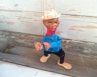 Black Americana Puppet /Marionette - Very Rare, Folk Art Dancing Puppet Toy, Vintage Interactive Childs Gift, Vintage Handmade Gift for Kids