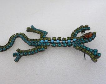 Brooch, Lizard Brooch,Crystals, Vintage Moveable Brooch, Crystal and Czech Glass  Lizard Brooch