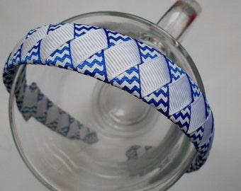 Blue and White Chevron Woven Headband