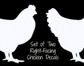 "Set of 2 CHICKEN Hen White Vinyl Car Window Sticker Decal Farm Fresh Eggs Daily 2"" Right Facing"