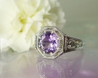 Amethyst Ring, Amethyst Sterling Ring, February Birthstone Ring, Amethyst Silver Ring, Antique Style Ring, Purple Gemstone, Amethyst
