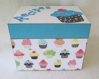 Recipe Box - Cupcake Recipe Box - Wooden Recipe Box - Small - Shower Gift