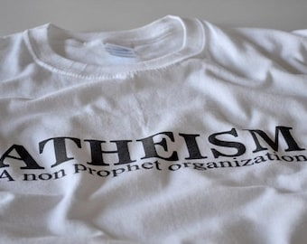 Atheist T shirt men women youth atheism no religion non prophet organization white tshirt tee gift husband father dad