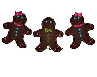 Instant Download Gingerbread Trio Machine Embroidery Applique Design 5x7 and 6x10 hoop sizes