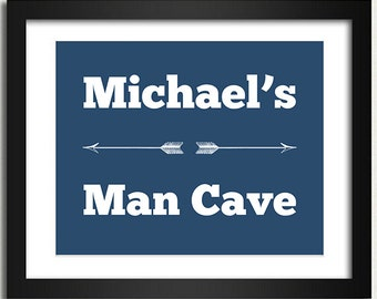 Man Cave Poster - Arrows - Choose Font & Color - Mens Gift Idea Man Cave Personalized Customized Name Print Door Sign 8x10 Mens Poster