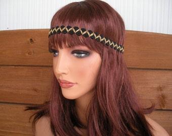 Womens Headband Boho Headband Hippie Headband Headpiece Fashion Accessories Women Forehead Headband in Black, Gold Braided trim