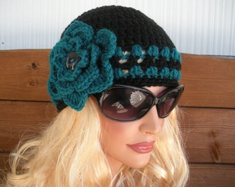 Womens Hat Crochet Hat Winter Fashion Accessories Women Winter Hat Beanie with Teal Stripes and Flower by creationsbyellyn