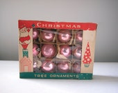Vintage Glass Christmas Ornaments / Set of 12 Poland Ornaments with Box
