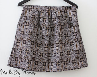 BROWN shweshwe cotton elastic waist skirt with front pockets -  geometric print. Adult size UK 14/ L