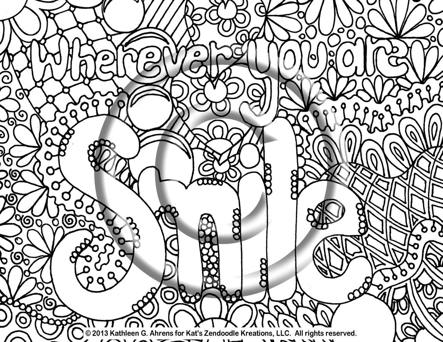 Smiling coloring pages ~ Instant PDF Download Coloring Page Hand Drawn by ...