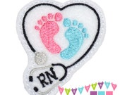 RN Stethoscope Heart with Baby Feet on White Felt Embroidered Embellishment Clippie Cover SET of 4 - Multiple Sets Available