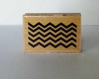 Chevron (A2) Pattern Wooden Mounted Rubber Stamping Block DIY cards, scrapbooking, tags, Greeting Cards, and Scrapbooking
