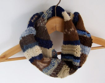 Rustic Circle Scarf Cowl Warm Earthy Country Colors Boho Chic Fall Fashion Brown Blue Tan Beige Winter Accessories