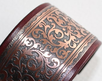 Leather and etched copper - women cuff bracelet