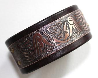Celtic - mens bracelet, natural leather and etched copper