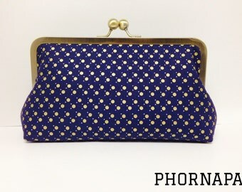 Gift for Her Navy Gold Metallic Dots Clutch Ready to Ship