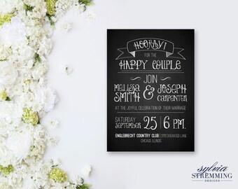 rustic chalkboard WEDDING invitation custom printable--digital file
