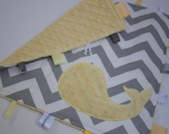 Chevron WHALE  baby sensory blanket - yellow grey gray - gender neutral boys girls shower gift