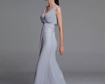 On Sale Size XXS Light Grey Wedding dress/Silk Chiffon party dress/ bridesmaid dress/Prom/ handmade/ floor length formal dress - NC519-3