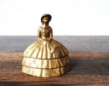 Antique Brass Bell, Southern Belle Lady Crinoline Dress & Bonnet, Solid Vintage Collectible Decor