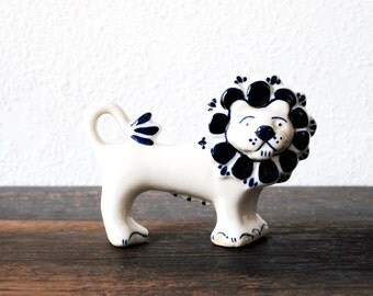 Antique Porcelain Lion Figurine, Russia Signed Hand Painted Blue White Decor Collectible