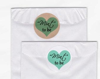Mint to Be Heart Wedding Favor Stickers - Aqua Custom White Or Kraft Round Labels for Bag Seals, Envelopes, Mason Jars (2016)