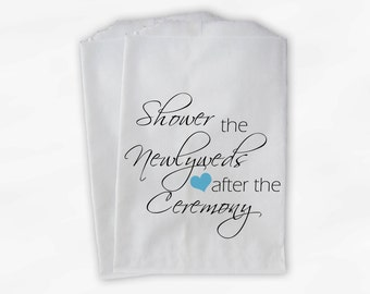 Shower the Couple Confetti Toss Bags - Aqua and Black After Ceremony Custom Paper Bags for Bird Seed, Lavender, Flower Petals (0096)