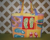 Flip Flops Beach Bag or Tote Bag in Orange, Yellow, Blue, and Green