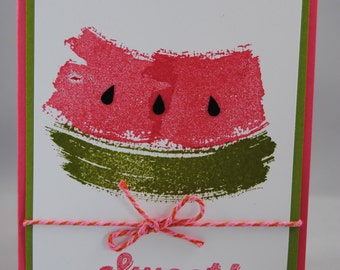 Handcrafted Slice of Watermelon Summer Card/Invitation
