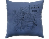 Akron Ohio 1916 Map on Blue Cozy Flannel Throw Pillow - 13.5'' x 13.5''