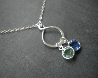 Infinity Necklace with Swarovski Crystal Birthstone, Mother's Day Necklace, Mother's Day Gift, Personalized, Infinity, Sterling Silver