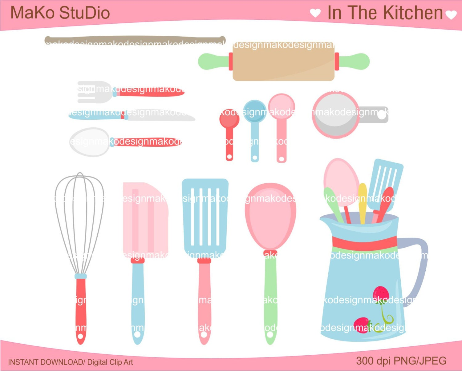Baking Clip Art Digital Clip Art Cooking Utensil Clip Art Kitchen -  kitchen digital clip art jpeg png format instant download sold by makostudio this is a digital file