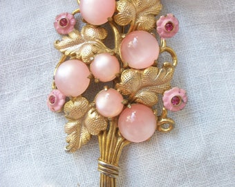 Vintage Brooch ~ Large Pink Moonglow Cabochon ~ Flowers ~ Chic Romantic Bouquet ~ Statement Piece