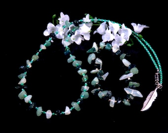 Green Necklace Bracelet Set Gemstones Glass Beads Handmade Costume Jewelry Made in Montana Free Shipping to USA Gift Box