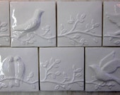 Handmade Ceramic Bird tiles -- Set of 7 Birds on a Vine tiles, 4x4 tiles, White glaze, READY TO SHIP