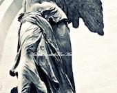 Paris Photography, Winged Victory,Samothrace,Angel Print,Paris,Romantic,Black & White, Angel Wings,Sculpture,Greek,Nautical,French Bedroom