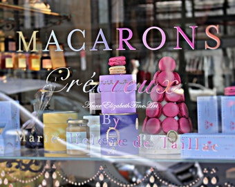 laduree,Macaron Art, Boutique Print, Paris, French,Macarons, Window,Pastries,Food Photography, Kitchen Art,Pink, Fashion, Dorm,Sweet,Preppy