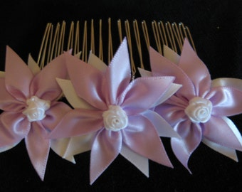 Hair comb, handmade pink or lilac available
