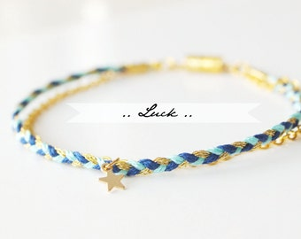 Tiny Star Luck Bracelet - Braided cotton bracelet & gold filled chain