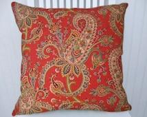 Red Paisley Pillow Cover-18x18 or 20x20 or 22x22-  Robert Allen - Accent Pillow, Decorative Pillow Throw Pillow