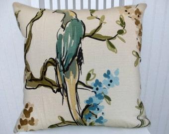 Green, Blue, Decorative Pillow Cover 18x18 or 20x20 or 22x22 DuraleeThrow Pillow- Accent Pillow Birds