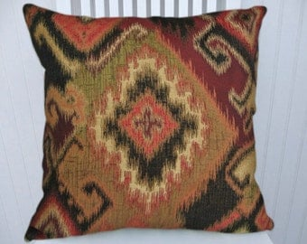 Red Gold  Kilim  Pillow Cover--18x18 or 20x20 or 22x22 Throw Pillow- Accent Pillow Green Black