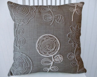 NEW!! Grey Embroidered Pillow Cover-- 18x18 or 20x20 or 22x22 Abstract Throw Pillow--Accent Pillow