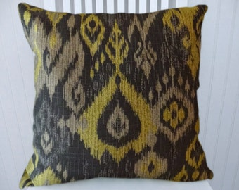 Grey Yellow IKAT Pillow Cover--18x18 or 20x0 or 22x22 Decorative Pillow Cover- Accent Pillow in Grey, Black and Yellow