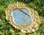 HOLLYWOOD REGENCY Mirror - Gold Mirror Clover Mirror Quatrefoil Mirror Upcycled