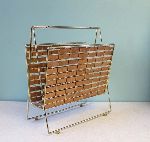 Mid-Century Magazine Rack, Brass and Woven Wood Rack