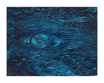 Third Eye 8x6 Abstract Acrylic Painting on Canvas Light Dark Blue Textured