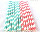 AQUA and CORAL--25ct--paper straws-with FREE diy printable flags
